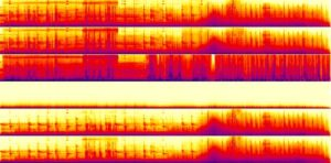What a L-R-C-LFE-Ls-Rs audio spectrogram typically looks like